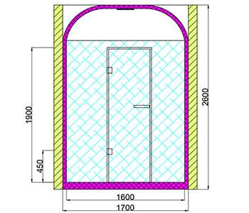 Проект хамама под ключ 1,5м2 разрез 2 фото