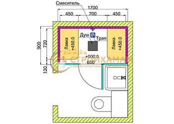 Проект хамама турецкой бани 1,5 м2 для квартиры, в ванной фото