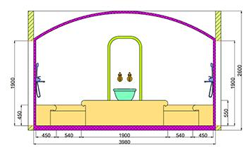 Проект хамама под ключ 16,3м2 разрез 2 фото