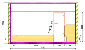 Проект хамама под ключ 16,3м2 разрез 3 фото