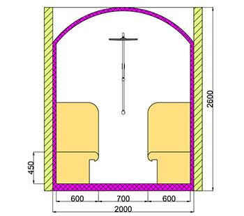 Проект хамама под ключ 2,8м2 разрез 1 фото