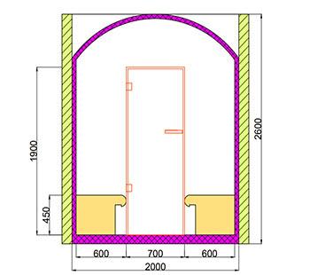 Проект хамама под ключ 2,8м2 разрез 2 фото