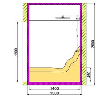 Проект хамама под ключ 2,8м2 разрез 3 фото