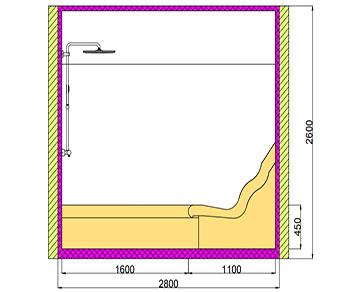 Проект хамама под ключ 3,92м2 разрез 3 фото