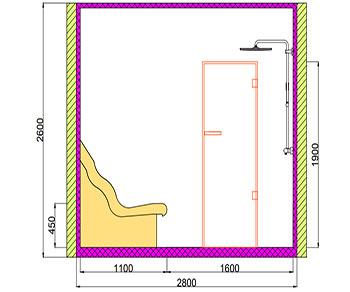 Проект хамама под ключ 3,92м2 разрез 4 фото