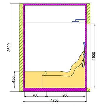 Проект хамама под ключ 3.1х1.7 разрез 2 фото