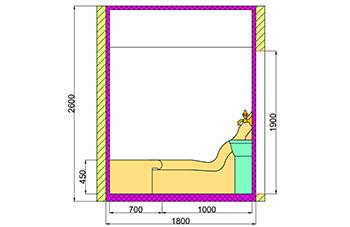 Проект хамама под ключ 3,96 м2 разрез 1 фото