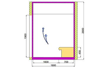 Проект хамама под ключ 3,96 м2 разрез 2 фото