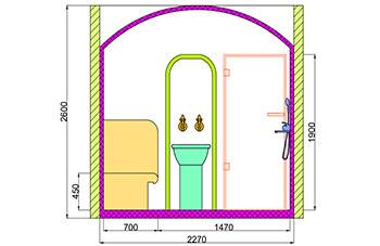 Проект хамама под ключ 3,96 м2 разрез 4 фото