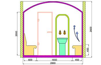 Проект хамама под ключ 4,5м2 разрез 2 фото