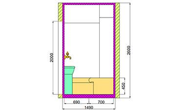 Проект хамама под ключ 4,5м2 разрез 3 фото
