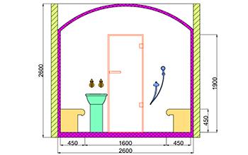 Проект хамама под ключ 6,24м2 разрез 2 фото