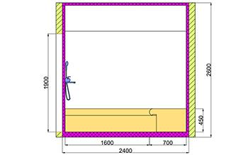 Проект хамама под ключ 6,24м2 разрез 3 фото
