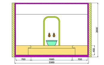 Проект хамама под ключ 8,5м2 разрез 1 фото