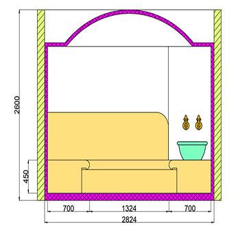 Проект хамама под ключ 9м2 разрез 1 фото