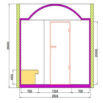 Проект хамама под ключ 9м2 разрез 2 фото