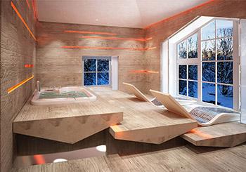 Отделка моечной в деревянной бане фото