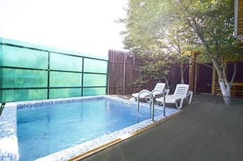 Проект бани с бассейном на улице фото